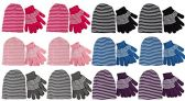 excell Ladies 2 Piece Set Of excell Striped Winter Glove And Hat Set Assorted Colors (12 Pack Assorted)