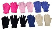 12 Pair Pack Of excell Kids Warm Winter Colorful Magic Stretch Gloves And Mittens (Solid Soft Fuzzy)