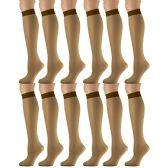 12 Pairs of excell Trouser Socks for Women, 20 Denier Knee High Dress Socks (Gold)