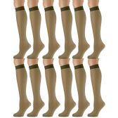 12 Pairs of excell Trouser Socks for Women, 20 Denier Knee High Dress Socks (Khaki)