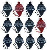 SOCKSNBULK Kids Winter Beanie Hat Assorted Colors Bulk Pack Warm Acrylic Cap (12 Pack Assorted w/Pom Darks)