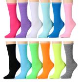 12 Pairs of WSD Womens  Printed Crew Socks Many Colors, Soft Touch Fun Prints (Pack a) (9-11)