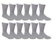 12 Pairs of SOCKSNBULK Women Crew Socks, Quality Ringspun Cotton Soft Athletic Socks (Gray)