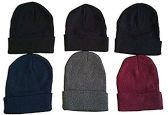 6 Pieces Of SOCKSNBULK Mens Womens Warm Winter Hats In Assorted Colors, Mens Womens