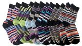 excell Boys Dress Socks, 12 pairs, Striped Colorful Fancy Cotton Socks (9-11)