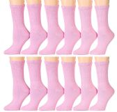 12 Pairs of excell Womens Diabetic Crew Socks Ringspun Cotton For Neuropathy Edema (Pink)
