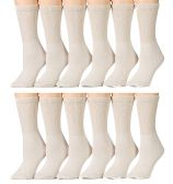 12 Pairs of Women's SOCKSNBULK Diabetic Crew Socks, Ringspun Cotton (Tan)
