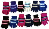 Yacht & Smith Women's Striped Soft Fuzzy Winter Gloves 12 pack