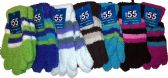 6 Pairs Of SOCKSNBULK Ladies Striped Soft Fuzzy Winter Gloves