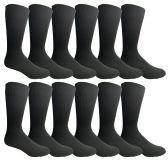 Yacht & Smith Mens Fashion Designer Dress Socks, Cotton Blend, Textured Design Premium Knit (12 Pairs Black) 12 pack