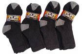 12 Pairs Of excell Kids Cotton Black Ribbed Crew Socks With Gray Heel And Toe