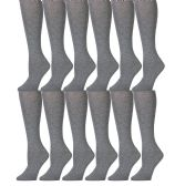 12 Pairs of SOCKSNBULK Long Knee High Socks for Women, Knee High Socks (Gray)