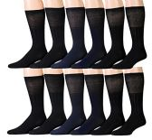 12 Pairs Unisex White Diabetic Socks for Neuropathy, Edema, Circulation, Comfort, by excell (10-13, Black (Diabetic Dress Socks))