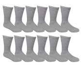 12 Pairs of Excell Boys Youth Value Pack Cotton Sports Athletic Childrens Socks (6-8, Gray)
