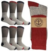 6 Pairs of excell Men's Winter Warm Thermal Tube Socks, Size 10-13