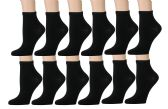 Kid's Ankle Socks, Athletic Sports Running Socks for Boys or Girls (12 Pairs - Many Styles) Quarter Length (4-6, Black)