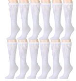 12 Pairs of Slouch Socks for Women, Extra Slouch Ladies Cotton Boot Socks (6 - 12 Pairs) (12 Pairs, White)