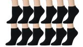 Women's Low Cut Socks Cotton No Show Ankle Socks (12 Pairs - Many Styles) (Black)