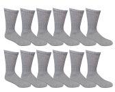 12 Pairs of SOCKSNBULK Youth Boy Socks, Cotton Socks for Boys (6-8, Gray)