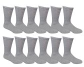 SOCKSNBULK Youth Girl Socks, Girls Crew Socks, Girls Athletic Socks (9-11, Gray)