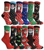 12 Pair Newly created Christmas Holiday Socks, Sock Size 9-11