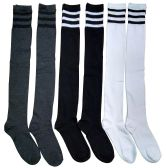 6 Pairs excell Ladies Knee High Referee Socks for Ladies Size 9-11