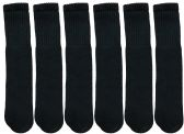 6 Pairs of SOCKSNBULK Children's Cotton Tube Socks, Black, Boys Girls, Size 6-8