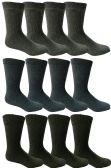 12 Pairs of SOCKSNBULK Men's Thermal Winter Boot Socks, Assorted Dark colors, Size 10-13
