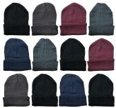 12 Winter Toboggan Beanie Hats by excell Thermal Sport Mens Womens, Assorted