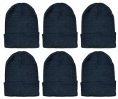 Yacht & Smith Unisex Winter Warm Beanie Hats In Solid Black 6 pack