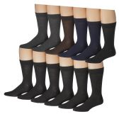 12 Pairs of Mens Solid Executive Dress Socks, Cotton Blend, Sock Size 10-13