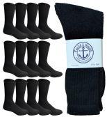 Yacht & Smith Men's Premium Cotton Crew Socks Black Size 10-13