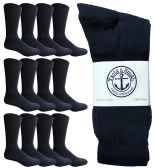 Yacht & Smith Men's Premium Cotton Crew Socks Navy Size 10-13 12 pack