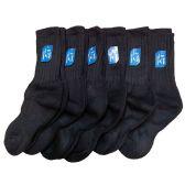 12 Pairs of excell Childrens Boys Girls Merino Wool Socks, Black, Sock Size 6-8