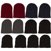 12 Pack of Mens Womens excell Winter Beanie Hats, Thermal Sport