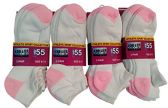 12 Pack excell Womens White No Show Socks, Terry Sole Super Soft (White & Pink)