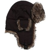 excell Brand Black Mens Womens Nylon Russian/Trapper W/Soft Faux Fur Winter Hat