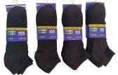 12 Pack Of SOCKSNBULK Mens Black Quarter Length Terry Sole Super Soft Ankle Socks