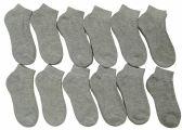 12 Pairs of Children's Ankle Socks, Low Cut, Quarter Length, Boys Girls, Cotton (4-6,Gray)
