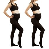 2 Pack of Mod & Tone Maternity Microfiber Opaque Tights, Wide Waist Band (Q1/Q2, Black)