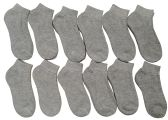 Children's Ankle Socks, Low Cut, Quarter Length, Boys Girls, Cotton (6-8, Gray)
