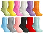 SOCKSNBULK Womens Fuzzy Socks Crew Socks, Warm Butter Soft, 12 Pair Pack, Solid Fuzzy C, 9-11
