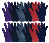 excell Mens and Womens Warm And Stretchy Winter Gloves (Womens 12 Pairs Solids)