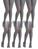 6 Pack of Mod & Tone Maternity Microfiber Opaque Tights, Wide Waist Band (L/XL, Gray with Black Top)