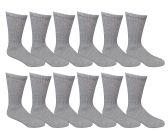 6 Pairs of Men's SOCKSNBULK Diabetic Crew Socks, Ringspun Cotton, Neurpathy Edema Socks (Gray)