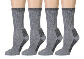 4 Pairs of Excell Kids Merino Wool Socks for Hiking, Camping, Backpacking (4-6, Gray)
