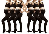 6 Pack of Mod & Tone Maternity Microfiber Opaque Tights, Wide Waist Band (L/XL, Black)
