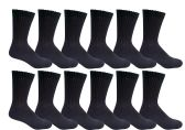 12 Pairs of excell Womens Diabetic Crew Socks Ringspun Cotton For Neuropathy Edema (Black)
