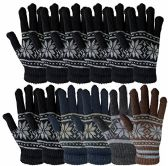 12 Pair Of MB55 Mens Womens Design Winter Gloves, Stretchy and Warm