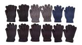 12 Pairs Of excell Solid Color Wool Gloves - Mens Womens, Stretchy so One Size